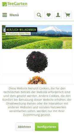 Vorschau der mobilen Webseite www.teegarten-shop.de, TeeGarten Shop, Miyako Schaefer