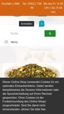 Vorschau der mobilen Webseite teeschmiede-eutin.de, Tee Schmiede Eutin, Henning Klotz