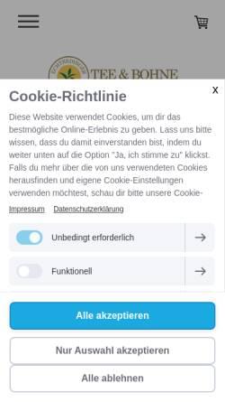Vorschau der mobilen Webseite teeundbohne.eu, Tee und Bohne, Ute Otto