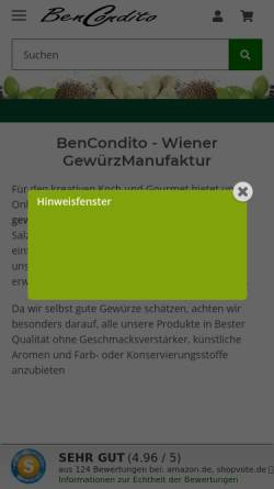 Vorschau der mobilen Webseite www.bencondito.at, BenCondito, Wolfgang Friedl