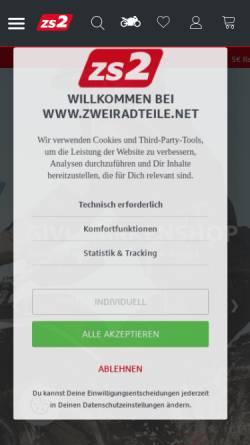 Vorschau der mobilen Webseite www.zweiradteile.net, ZS 2Radteile GmbH
