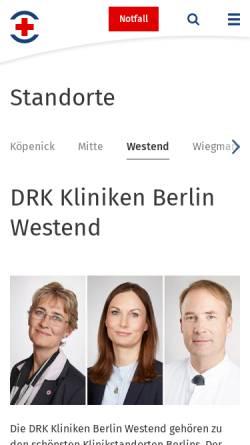 Vorschau der mobilen Webseite www.drk-kliniken-westend.de, DRK Kliniken Berlin Gemeinnützige Krankenhaus GmbH
