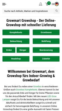 Vorschau der mobilen Webseite www.growmart.de, Growmart - Growshop