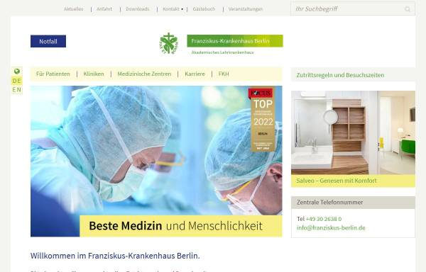Vorschau von www.franziskus-berlin.de, Franziskus - Krankenhaus Berlin