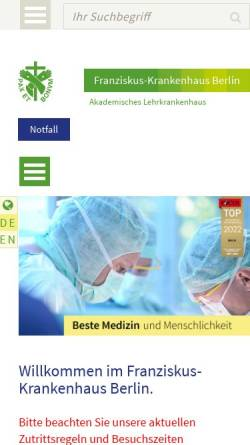 Vorschau der mobilen Webseite www.franziskus-berlin.de, Franziskus - Krankenhaus Berlin