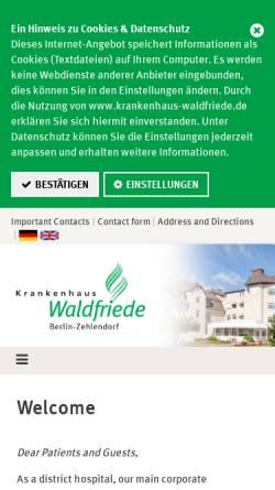 Vorschau der mobilen Webseite www.krankenhaus-waldfriede.de, Krankenhaus Waldfriede