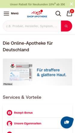 Vorschau der mobilen Webseite www.shop-apotheke.com, shop-apotheke.com, Fortuna-Apotheke Köln