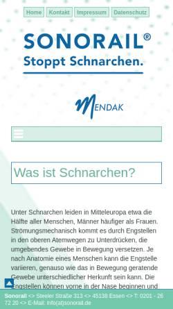 Vorschau der mobilen Webseite www.sonorail.de, Sonorail UG