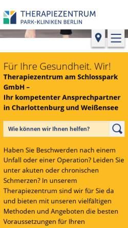 Vorschau der mobilen Webseite www.tzpark.de, Schlosspark-Klinik und Park-Klinik Weissensee