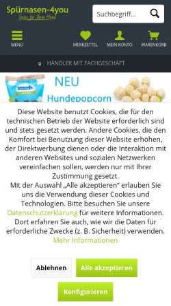 Vorschau der mobilen Webseite www.spuernasen-4you.de, Spürnasen-4you, Silvia Papadatos