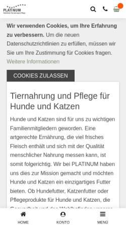 Vorschau der mobilen Webseite www.platinum-swiss.ch, Platinum, Marcel Bolli