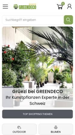 Vorschau der mobilen Webseite www.greendeco.ch, Greendeco Schweiz