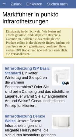 Vorschau der mobilen Webseite www.infrarotheizung-online.ch, Krieger Therm GmbH