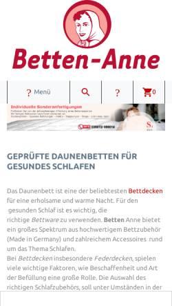Vorschau der mobilen Webseite www.betten-anne.de, Betten Anne, Wieland Neumann