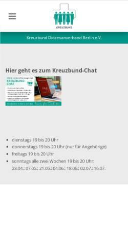 Vorschau der mobilen Webseite kreuzbund-berlin.de, Kreuzbund Diözesanverband Berlin e.V.