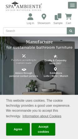 Vorschau der mobilen Webseite www.natursteinwaschbecken.com, Spa Ambiente GmbH
