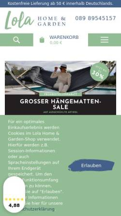 Vorschau der mobilen Webseite www.lola-haengematten.de, Lola Hängematten, Inh. Miroslav Dinic