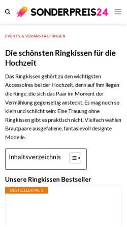 Vorschau der mobilen Webseite www.ringkissenshop24.de, Matthias Schneiderbanger