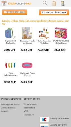 Vorschau der mobilen Webseite www.kinder-online-shop.ch, Kinder Online Shop GmbH