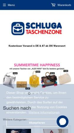 Vorschau der mobilen Webseite www.taschenzone.com, Schluga Koffer und Taschen GmbH