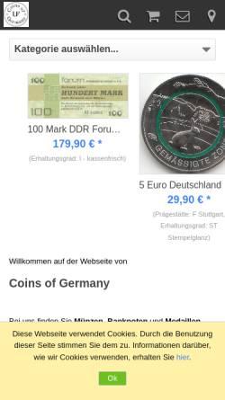 Vorschau der mobilen Webseite www.coins-of-germany.com, Coins of Germany, Uwe Fleischer
