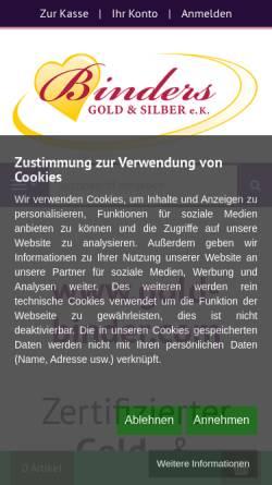 Vorschau der mobilen Webseite www.gold-binder.com, Binders GOLD & SILBER, Bodo Binder