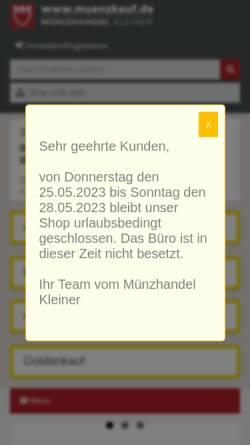 Vorschau der mobilen Webseite www.muenzkauf.de, Kleiner Münzhandel GmbH