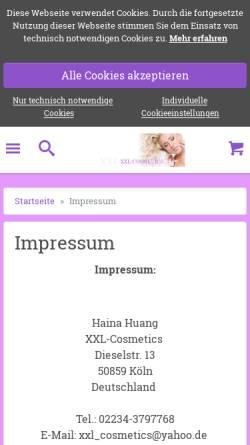 Vorschau der mobilen Webseite www.xxl-cosmetics.de, XXL-Cosmetics, Haina Huang