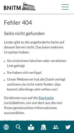 Vorschau der mobilen Webseite www.bnitm.de, Tropeninstitut Hamburg