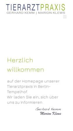 Vorschau der mobilen Webseite www.tierarztpraxis-kemm-klews.de, Tierärztliche Gemeinschaftspraxis - Marion Klews & Gerhard Kemm