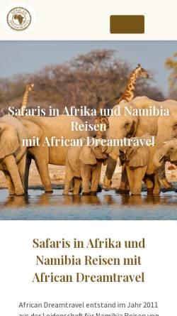 Vorschau der mobilen Webseite www.african-dreamtravel.de, African Dreamtravel