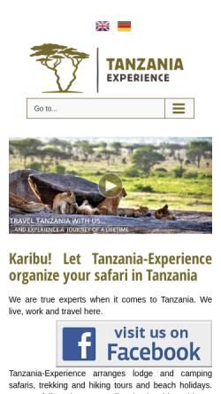 Vorschau der mobilen Webseite www.tanzania-experience.com, Tansania Erfahrung