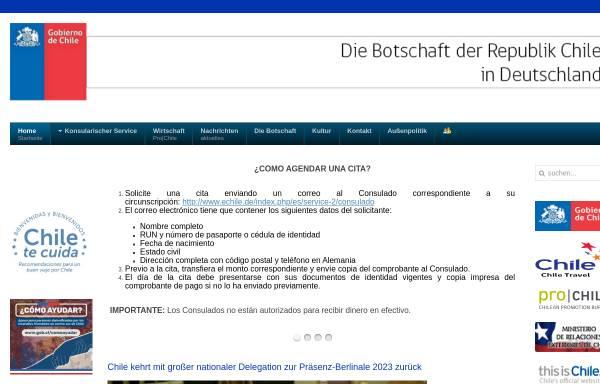 Vorschau von www.echile.de, Botschaft von Chile in Deutschland