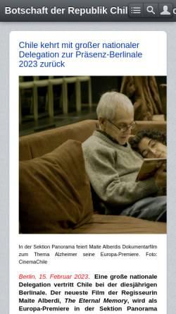 Vorschau der mobilen Webseite www.echile.de, Botschaft von Chile in Deutschland