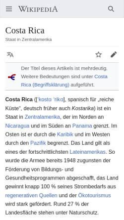 Vorschau der mobilen Webseite www.hallo-costarica.com, Hallo-CostaRica.com