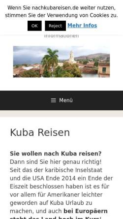 Vorschau der mobilen Webseite www.nachkubareisen.de, Kuba Reisen
