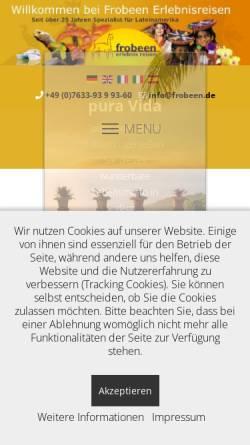 Vorschau der mobilen Webseite frobeen.de, Frobeen Erlebnisreisen