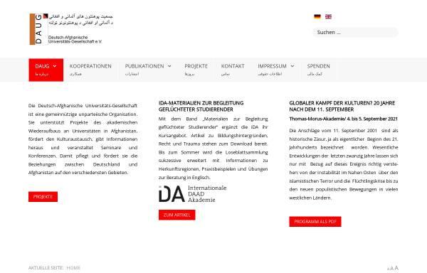 Vorschau von www.daug-online.org, Deutsch-Afghanische Universitäts-Gesellschaft e.V.