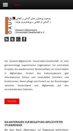 Vorschau der mobilen Webseite www.daug-online.org, Deutsch-Afghanische Universitäts-Gesellschaft e.V.