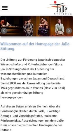 Vorschau der mobilen Webseite www.jadestiftung.org, JaDe-Stiftung