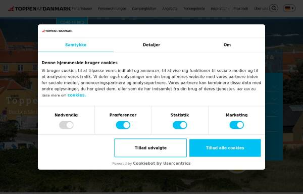 Vorschau von www.toppenferienhauser.de, Toppen af Danmark