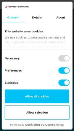 Vorschau der mobilen Webseite www.toppenferienhauser.de, Toppen af Danmark