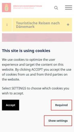 Vorschau der mobilen Webseite tyskland.um.dk, Dänemark in Deutschland