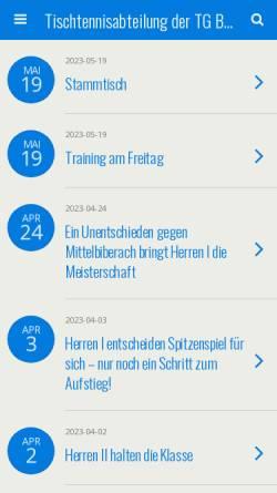 Vorschau der mobilen Webseite www.ttbiber.de, TG Biberach 1847 e.V. - Tischtennis