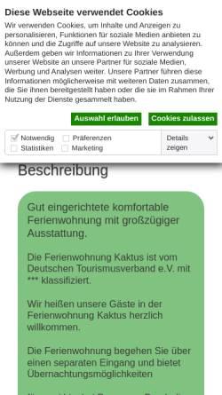 Vorschau der mobilen Webseite www.ferienwohnung-kaktus.de, Ferienwohnung Kaktus