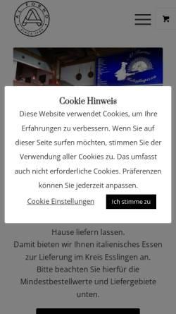 Vorschau der mobilen Webseite www.alforno-esslingen.de, Al Forno