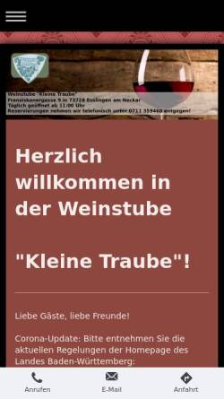 Vorschau der mobilen Webseite www.kleine-traube.de, Weinstube Kleine Traube