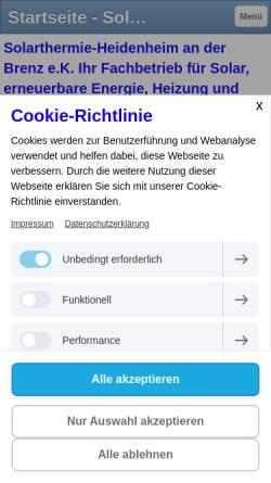 Vorschau der mobilen Webseite sthheidenheim.jimdo.com, Solarthermie-Heidenheim an der Brenz e.K., Lothar Scheu