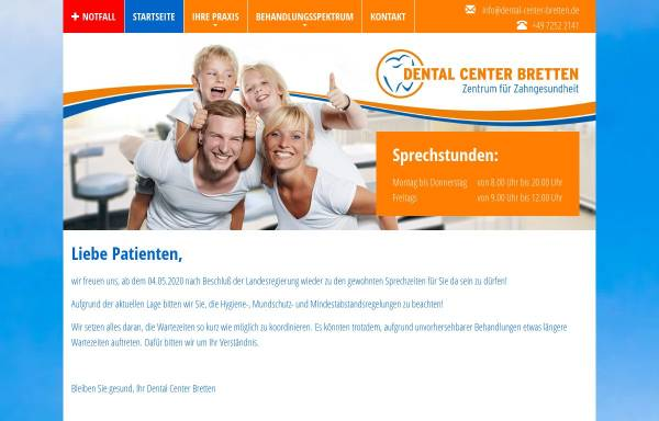 Vorschau von www.dental-center-bretten.de, Dental Center Bretten