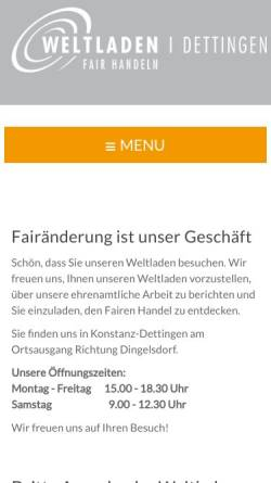 Vorschau der mobilen Webseite www.weltladen-dettingen.de, Weltladen Dettingen